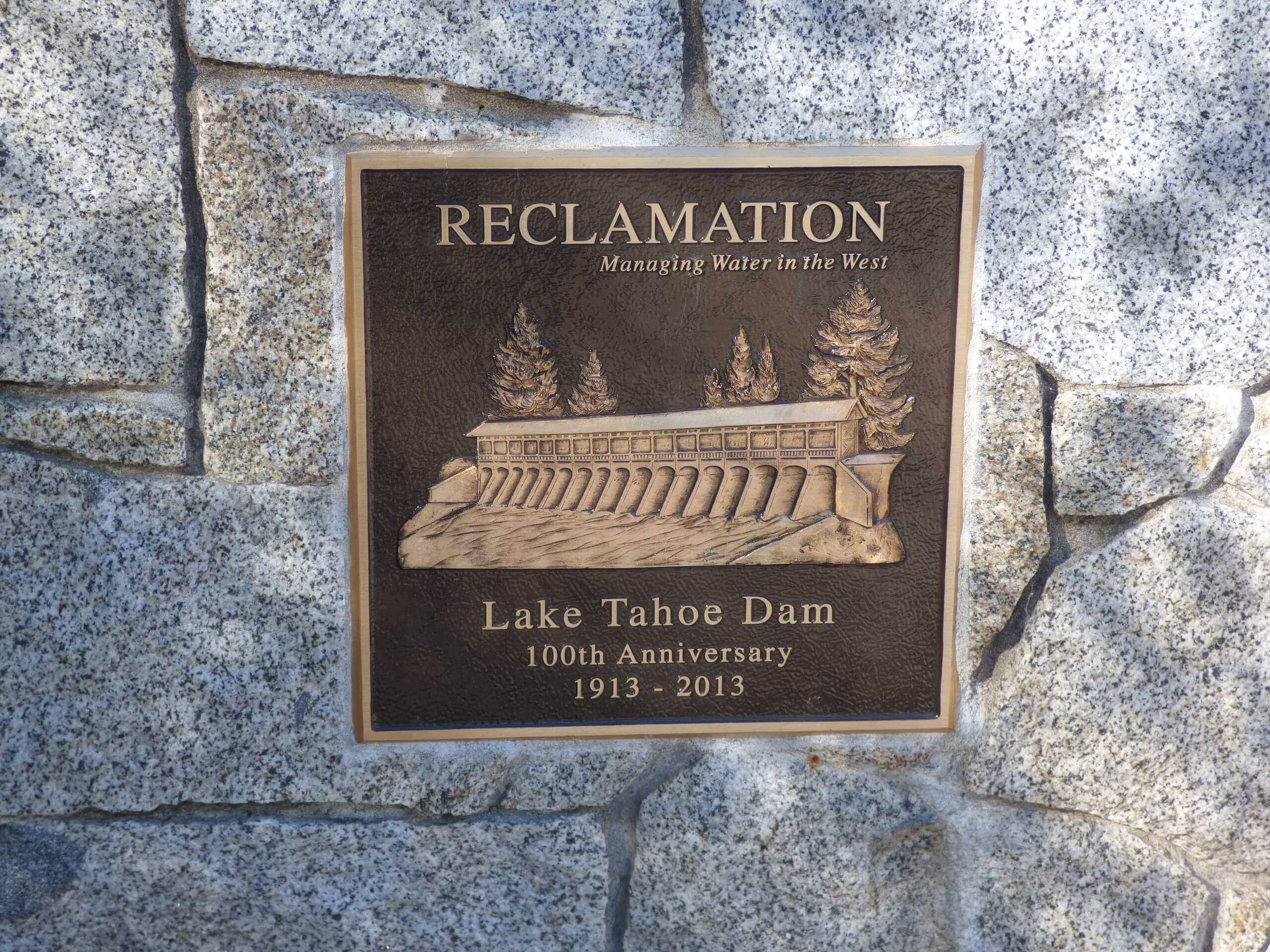 Lake Tahoe Dam Plaque
